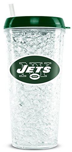 NFL New York Jets 16oz Crystal Freezer Tumbler with Lid and Straw