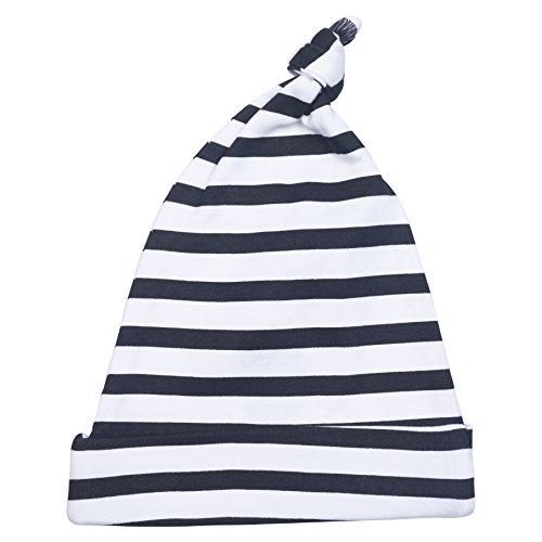 - Cole + Cleo Unisex Baby GOTS Certified Organic Adjustable Knot Hat (Black/White Stripe)