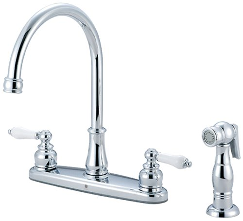 Pioneer 2BR111 Two Handle Kitchen Faucet, PVD Polished Chrome Finish