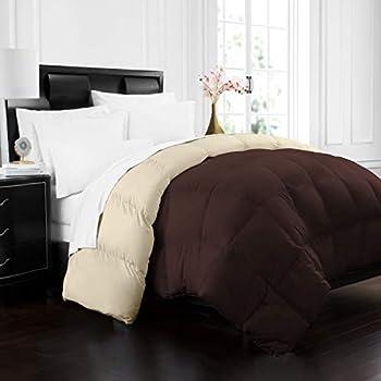 Beckham Hotel Collection 1700 Series Luxury Goose Down Alternative Reversible Comforter - Premium Hypoallergenic - All Season - Duvet - Full/Queen - Brown/Cream