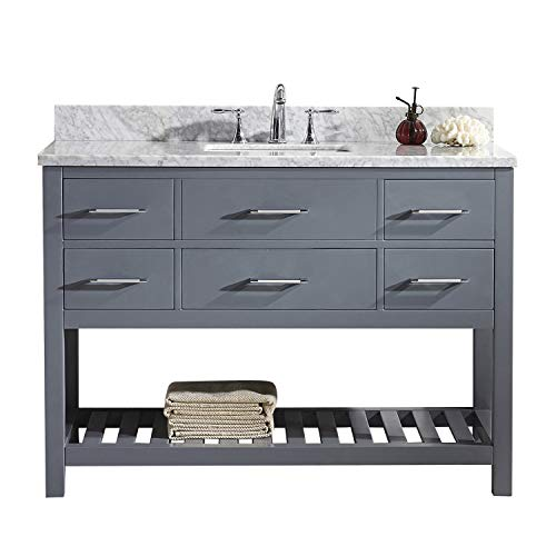 Virtu USA MS-2248-WMSQ-GR-001-NM Caroline Estate Bathroom Vanity 48 inches Cool Gray