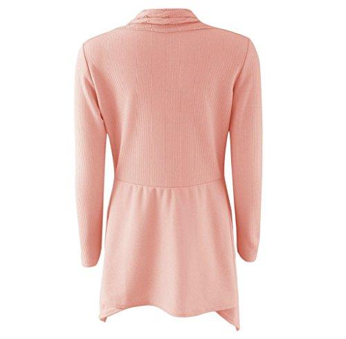 Tongshi Las mujeres de largo manga suéter Cardigan punto Casual Outwear Rosa