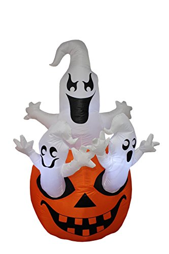 [5 Foot Tall Halloween Inflatable Three Ghosts with Pumpkin Decoration] (Night Wind Costume)