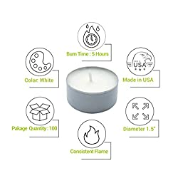 CandleNScent 5hr Soy Tea Lights Candles|100 Tealig