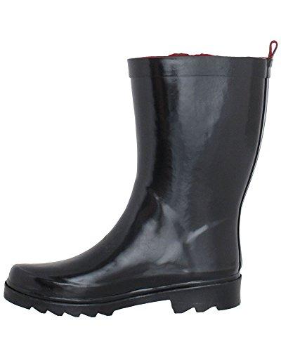 New Shiny York Rain Black Capelli Ladies Rubber Short Boot wSORtOdq