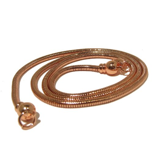 I Dig Crystals Brass Chain Copper-Plated Brass Snake Removable End Necklace Thick Shiny Metal for Pendants B01 (20