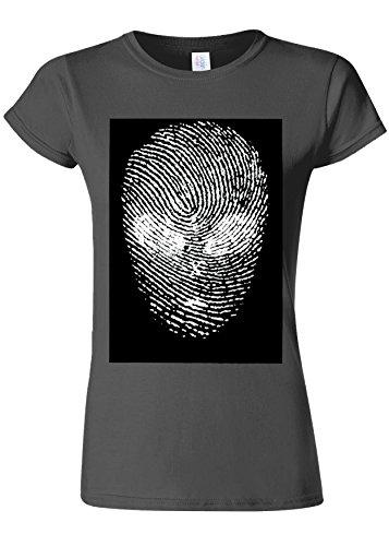 マティスお願いしますバックグラウンドFinger Print Alien Space Galaxy Novelty Charcoal Women T Shirt Top-S