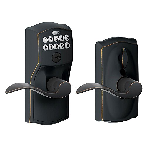 Schlage FE595 CAM 716 Acc Camelot Keypad Entry with Flex-Lock and Accent Levers, Aged - Set Function Office Door Knob