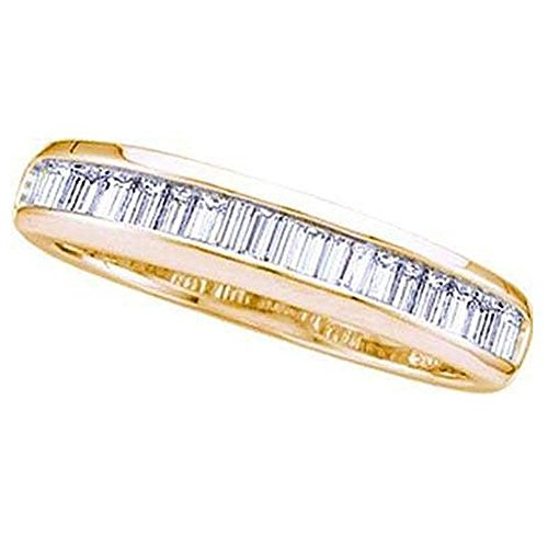 Dazzlingrock Collection 0.15 Carat (ctw) 14K Yellow Gold Baguette Cut White Diamond Ladies Fashion Wedding Band