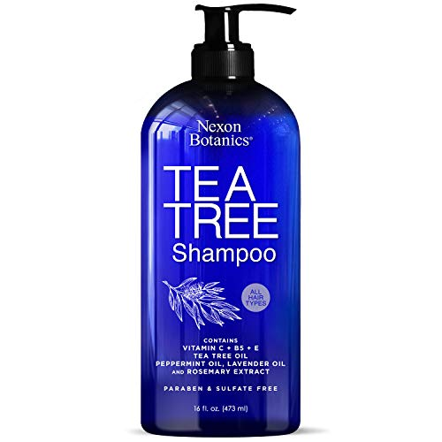 Nexon Botanics Tea Tree Shampoo 16 fl oz - Special Tea Tree Oil Shampoo for Dry, Itchy Scalp, Dandruff - Includes Natural and Pure Lavender, Peppermint, Tea Tree Oils - Sulfate Free and Paraben Free