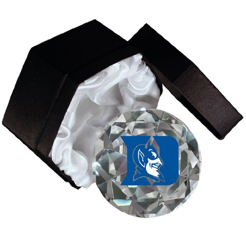 NCAA Duke Blue Devils Mascot on a 4-Inch High Brillance Diamond Cut Crystal Paperweight