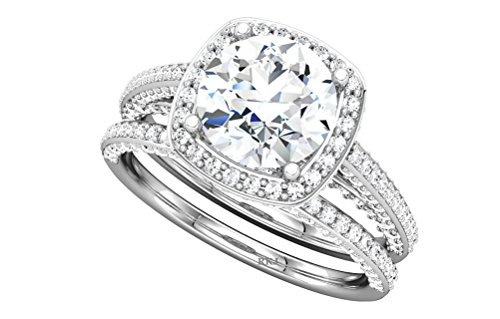 1.42CT CUSHION HALO ROUND CUT DIAMOND 10K WHITE GOLD ENGAGEMENT BAND WEDDING BRIDAL RING SET,ALL US SIZE 4 TO 13 AVAILABLE ()