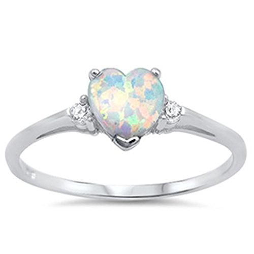 Oxford Diamond Co Lab Created White Opal Heart & Cz .925 Sterling Silver Ring Sizes 7 ()
