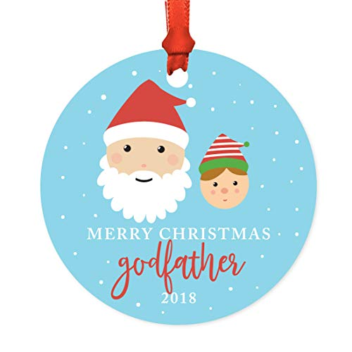 Andaz Press Family Metal Christmas Ornament, Merry Christmas Godfather 2018, Santa and Mrs. Claus with Elf, 1-Pack, Includes Ribbon and Gift Bag -  APP12162