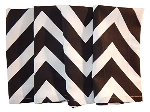 Crabtree Collection Deluxe Cotton Classic Black Chevron Napkin Set, Bright Colors for Kitchens and Dining Rooms - (Cloth Napkins Chevron)