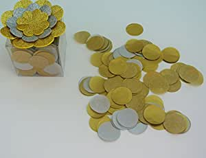 Confetti Circles 1 1/4 2 Colors Confetti Toss Gold and Silver Weddings New Years Comes with Cute Clear Plastic Container