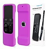 Remote Protective Case for Apple TV 4th Remote Controller, Hapurs Anti-Slip Silicone Light Weight Cover Case with a Lanyard for Apple TV 4th Generation Siri Remote Controller-Purple
