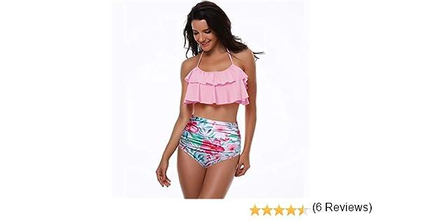 BHSHEN Traje de Baño Mujer Cintura Alta,Acolchado Bra Bikini Set Seaside Beach
