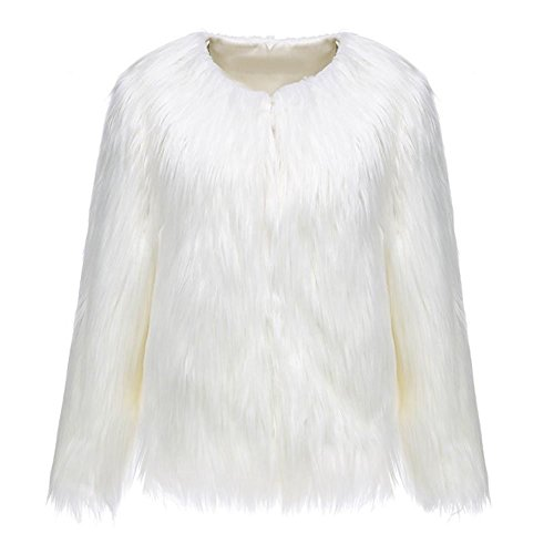 Fur Coat Costumes Halloween (Women's Long Sleeve Winter Warm Fluffy White Faux Fur Short Coat Jacket Parka Outerwear)