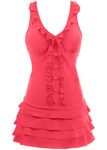 Full Costumes For Swimming - Wantdo Women's Sandy Beach Wear Dress Swimming Costume Over Size Swimsuit Dress, Watermelon Red, US 6-8