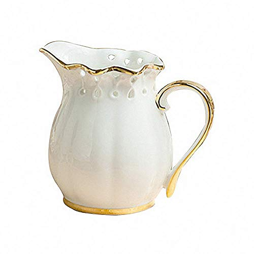 Hollow Handle Coffee Server - European Style Gold Rim Hollow Out Ceramic Creamer Coffee Milk Tea Pitcher Porcelain Honey Jug Sauce Pitcher Jug Vase Syrup Dressing Server Mug Cup Creamer with Handle for Kitchen Home Decor