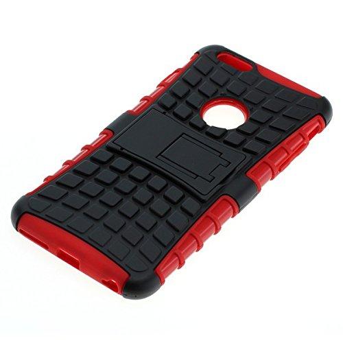 Stoßfestes Case Handy Tasche für Apple iPhone 6s Plus Schutz Hülle schwarz-rot mit Aufstellfunktion