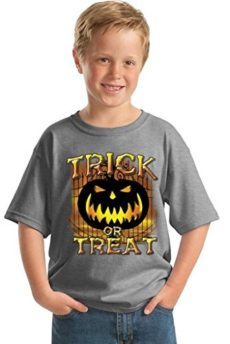 Youth Halloween Shirt Trick Or Treat T-shirt Jack-O-Lantern Costume For Kids M Gray (Hocus Pocus Witch Childrens Costume)