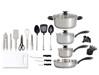 30 Piece Stainless Steel Cookware Combo Dorm Apartment Pots and pan Set