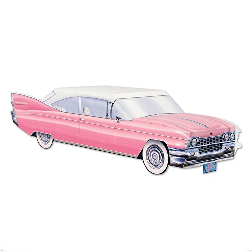 50s Grease Sock Hop Party Decoration PINK Cruisin Car Cadillac CENTERPIECE ()