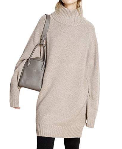 Ailaile Winter Turtleneck Cashmere Sweater Women's Long Pullover Dress Lady's Loose Thick Jumpers (M/US Size 8-10, Camel)