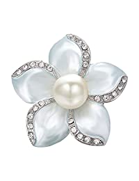 Yoursfs Grey Floral Brooch Pin Grey Plating Mabe Pearl Lacing Crystal Rhinestones Corsage Brooch Women