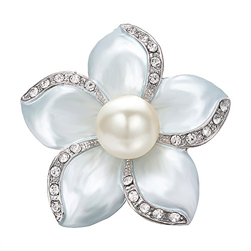 (Yoursfs Freshwater Pearl Flower Brooch Sky Blue Pollen Shell Crystal Rhinestones Studded Women Jewelry)