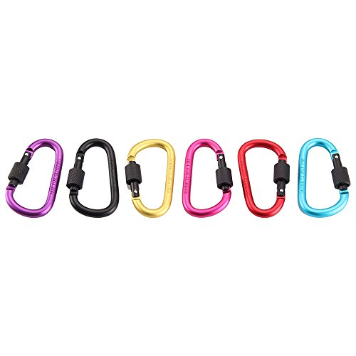 Voberry Carabiner Clip, 6 Pack of Spring are not Easy to Loose and not Easy to Break,Keychain Carabiners,Aluminum Carabiner,D Shape Carabiner,caribeaners,for Outdoor Sports and Travel (Hammock Width)