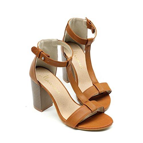 cooshional Damen Sandalen Sandalette mit Absatz T-Strap Sommer Römische Stil Peep Toe Braun