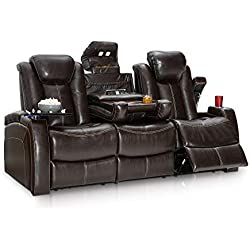 Seatcraft Omega Leather Gel Home Theater Seating Power Recline Multimedia Sofa with Adjustable Powered Headrests and Fold-Down Table, Brown