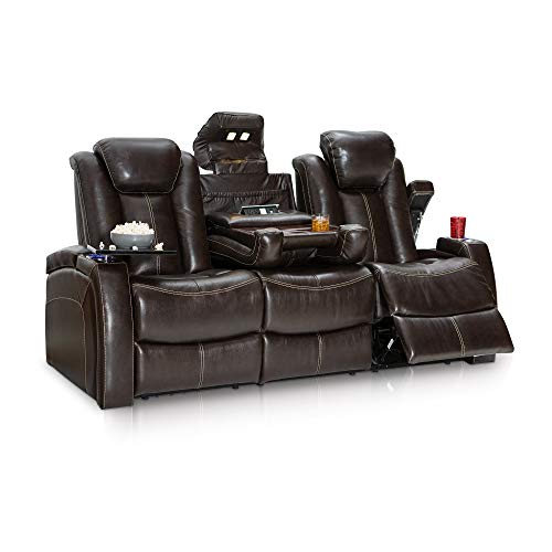 59-V1 Omega Home Theater Seating Leather Gel Recline Sofa with Adjustable Powered Headrests, Fold-Down Table, and Lighted Cup Holders, Brown ()