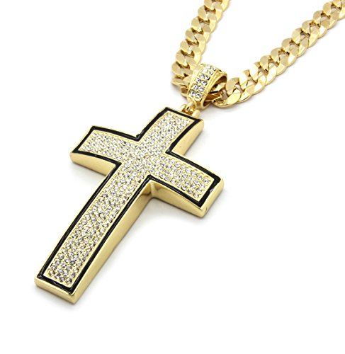 Mens Gold Plated Black Outline Iced Out Cross Pendant Hip-Hop 10mm 30