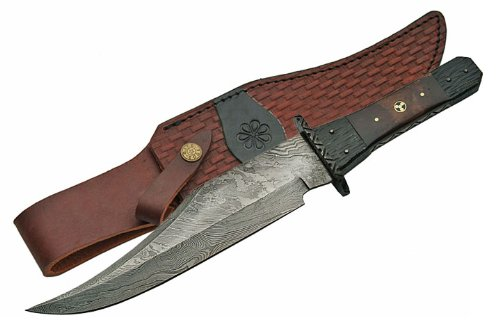 Szco Supplies Tri-Circle Mosaic Damascus Bowie Knife