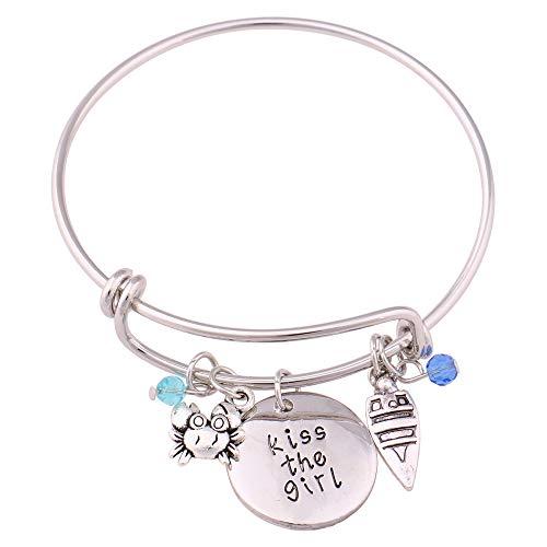 hanreshe Bangle Kiss The Girl Adjustable DIY Bracelet Message Charm Expandable Wire Bangle ()