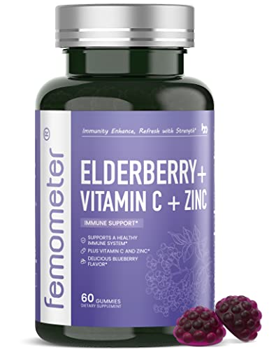 Femometer Elderberry Gummies with Zinc and Vitamin C, Immune Support Sambucus Elderberry Herbal Supplements Gummies for Adults and Kids, 60 Counts