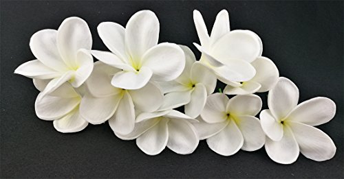 Bunch of 10 White Artificial Plumeria Frangipani Flower For DIY Headdress Wedding Bouquets Home Party Decoration