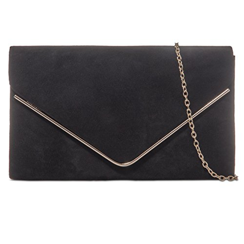 PLAIN CLUTCH SUEDE Black BRIDAL fi9 WEDDING PURSE BAG HAND EVENING PROM PARTY dCgYq