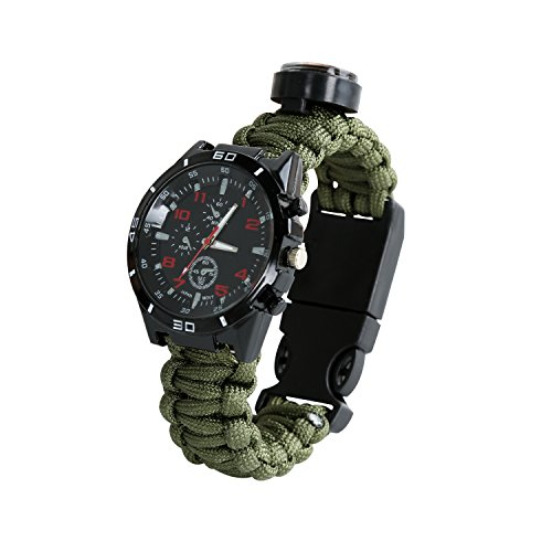 Thermometer-Paracord-Survival-Compass-Watch-Bracelet-Hiking-Camping-fire-Starter-Whistle-Compass-Knife-Fishing-Analog-Watches-Water-Resistant-Adjustable-Army-Green