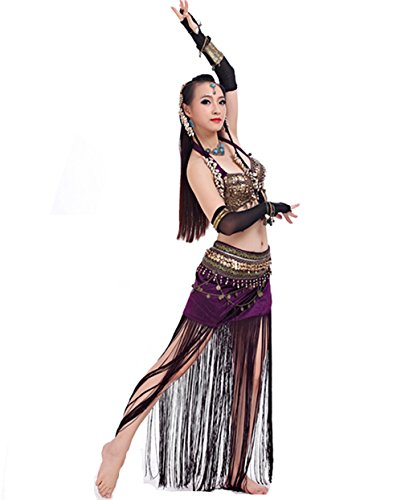 Demon Baby 2018 Best Gift Idea Tribal Gypsy Belly Dance Hanging Neck Bandage Bra & Belt Performance Costume(34/75C;Purple)