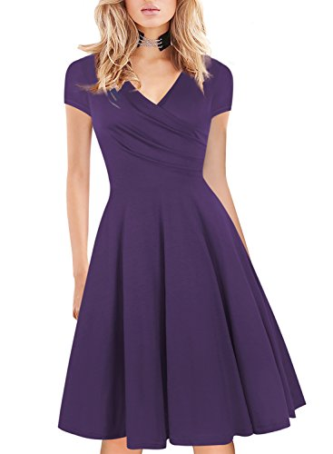 Skirts Wrap Style Dress - HELYO Women's Dress Casual Summer Formal Party Swing Homecoming 50s Vintage Ladies Dress Wrap Solid 163 Purple M