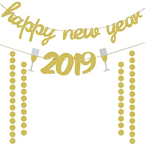 Happy New Year 2019 Banner Gold Glittery | 2019 New Years Eve Party Decorations | New Year Party Supplies | Extra Gold Glittery Circle Dots Garland