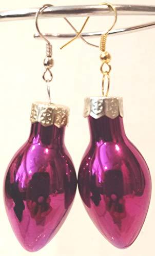 (Christmas PURPLE Light Bulb Pierced Earrings, Dangling Holiday Earrings, Shiny PURPLE Ornament Earrings, Holiday Earrings, Hypo Allergenic Hooks, 1-3/4