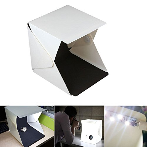 Jahyshow Foldable Lightbox Portable Light Room For Jewellery and Small Items Photo Studio 9'' Photography Lighting Tent Kit Backdrop Mini Soft-box white and Black Background (3 Ring Binder Box For Negative)