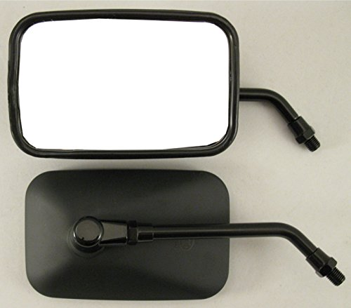 Pair Matte Black Rectangular STEEL Motorcycle Mirrors - Honda, Kawasaki, Suzuki, Victory by Hoosier Garage