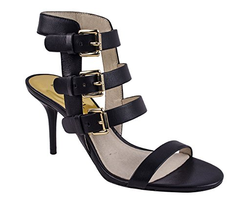 Open Toe Kors Michael Sandals (Michael Kors MK Beverly Sandal High Heel Black Strappy Open Toe Shoe (8))